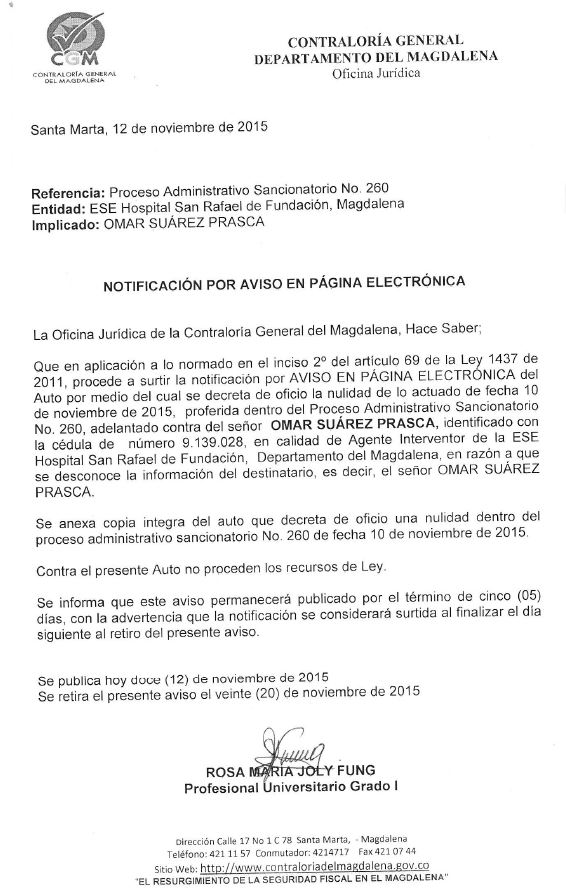 Notificación por web