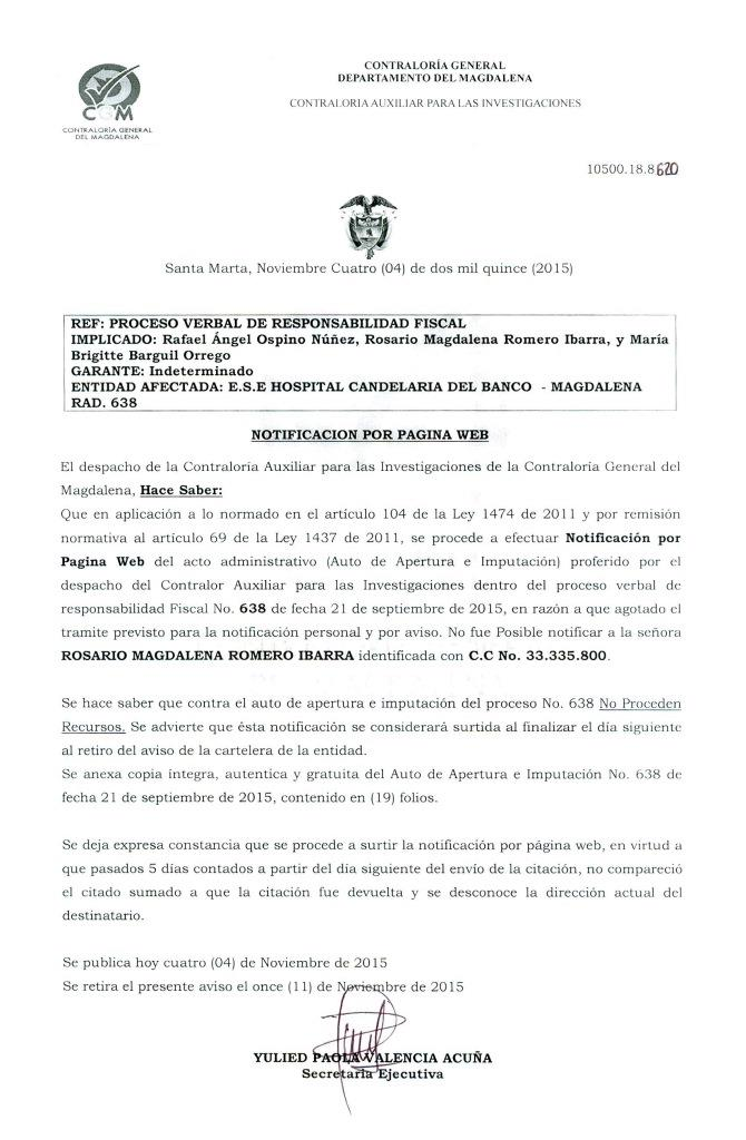 Notificación por pagina web