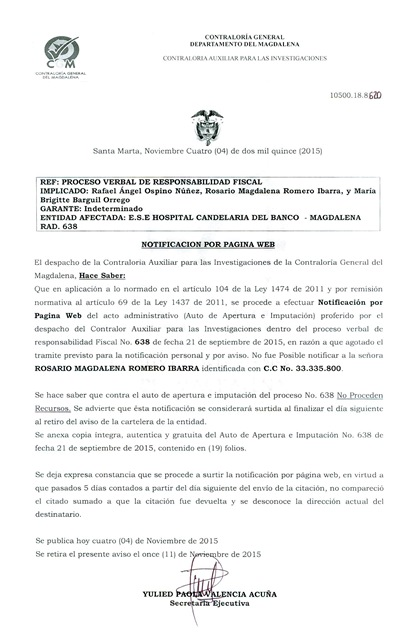 Notificación Rad N°638