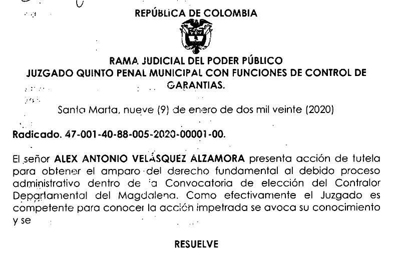 Aviso referente al proceso de elección de Contralor Departamental