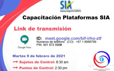 Capacitación Plataformas SIA Observa y SIA Contraloría
